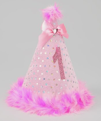 Pink '1' Sparkle Party Hat