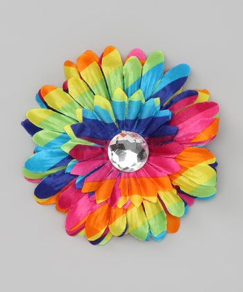Rainbow Jewel Flower Clip