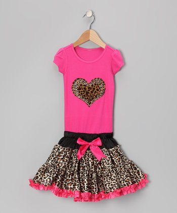 Hot Pink Cheetah Heart Ruffle Dress - Toddler & Girls