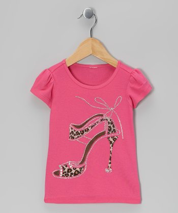 Hot Pink Leopard Heel Tee - Toddler & Girls