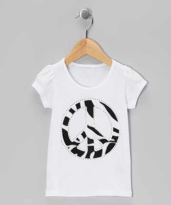 White Zebra Peace Tee - Toddler & Girls