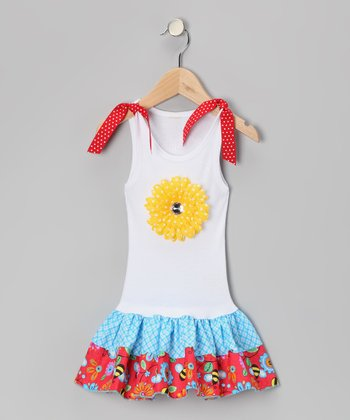 White & Blue Bee & Flower Drop-Waist Dress - Toddler & Girls