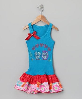 Blue & Red Love Owl Drop-Waist Dress - Toddler & Girls