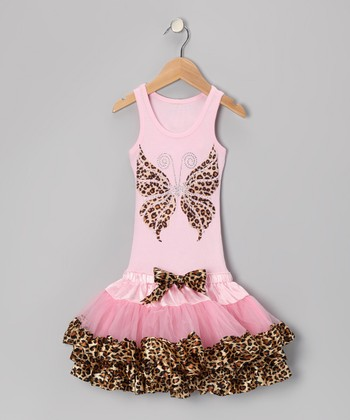 Pink Cheetah Butterfly Ruffle Drop-Waist Dress - Toddler & Girls