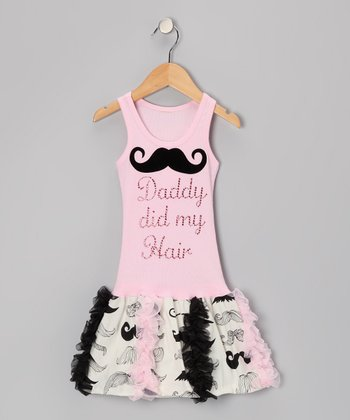 Pink 'Daddy Did My Hair' Mustache Ruffle Dress - Toddler & Girl
