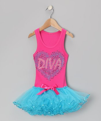 Hot Pink & Blue 'Diva' Tutu Dress - Toddler & Girls