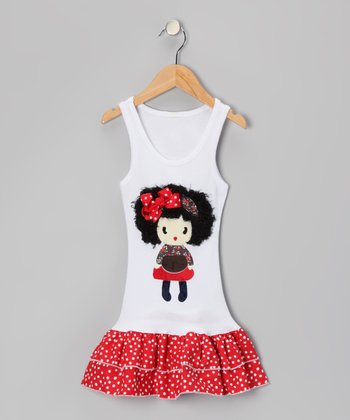 White & Red Polka Dot Doll Drop-Waist Dress - Toddler & Girls