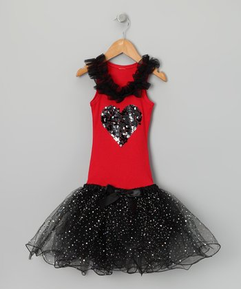 Red & Black Heart Tutu Dress - Girls