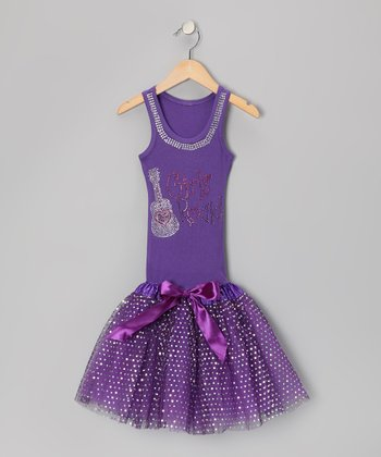 Purple 'Girls Rock!' Tutu Drop-Waist Dress - Toddler & Girls