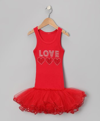 Red 'Love' Tutu Dress - Toddler & Girls