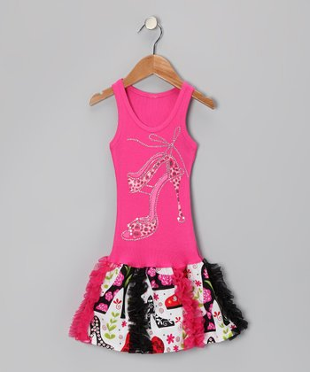 Hot Pink High-Heel Floral Ruffle Dress - Toddler & Girls