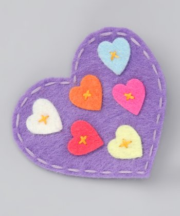 Bubbly Bows Purple Heart Felt Clip