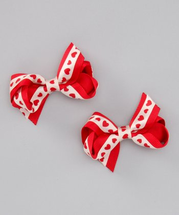 Red Heart Double Bow Clip - Set of Two