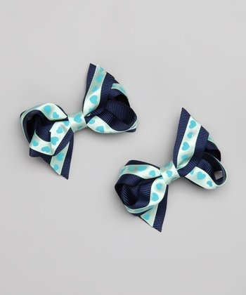 Navy Hearts Double Wrap Bow Clip - Set of Two