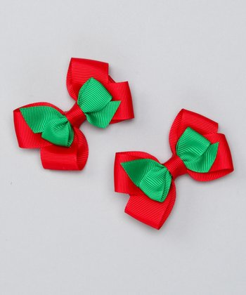 Red & Green Double Mini Bow Clip Set