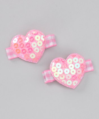 Light Pink Sequin Heart Clip Set
