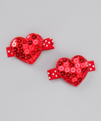 Red Sequin Heart Clip Set