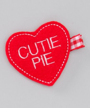 Red 'Cutie Pie' Heart Felt Clip