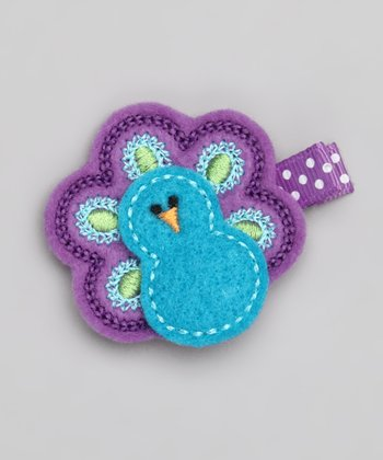 Blue & Purple Peacock Clip