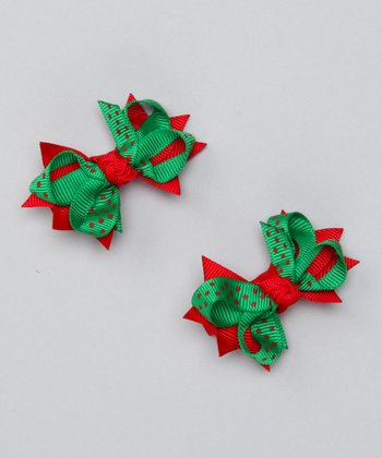 Green & Red Polka Dot Mini Bow Clip Set