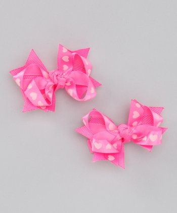 Pink Heart Bow Clip Set