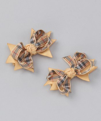 Tan Plaid Mini Clip