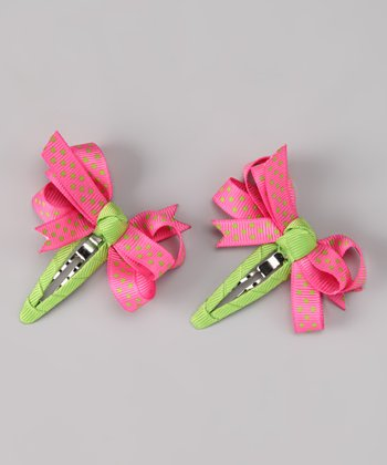 Pink & Lime Bow Clip Set