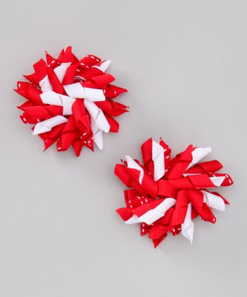 Bubbly Bows Red Saddle Stitch Korker Bow Clip Set