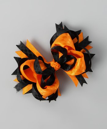 Orange & Black Silky Bow Clip