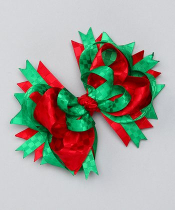 Red & Green Princess Bow Clip