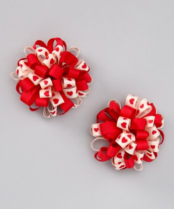 Cream & Red Loopy Puff Bow Clip - Set of Two