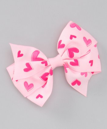 Light Pink Heart Savannah Bow Clip