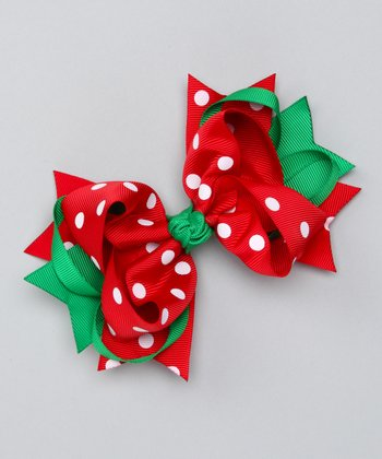 Red Polka Dot Sweetie Pie Bow Clip