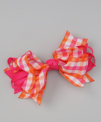 Hot Pink Plaid Sweetie Pie Bow Clip