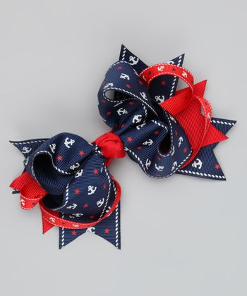 Navy & Red Anchor Sweetie Pie Bow Clip