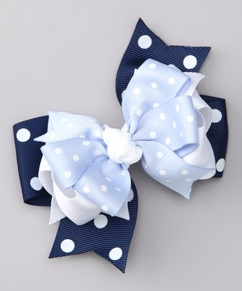 Blue & White Dot Bow Clip