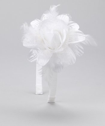 White Flower & Feather Headband