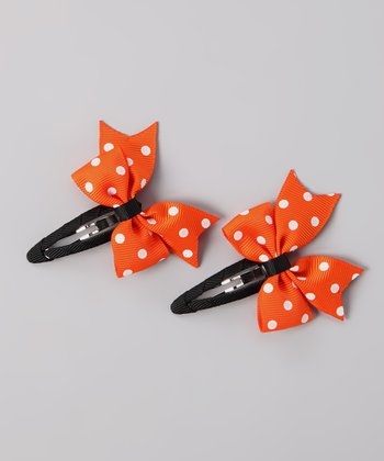 Orange & Black Polka Dot Bow Clip Set