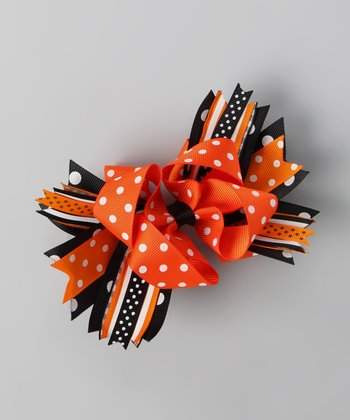 Orange Polka Dot Carnival Bow Clip