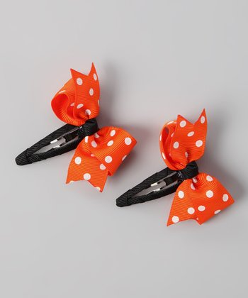 Orange Polka Dot Twist Bow Clip Set