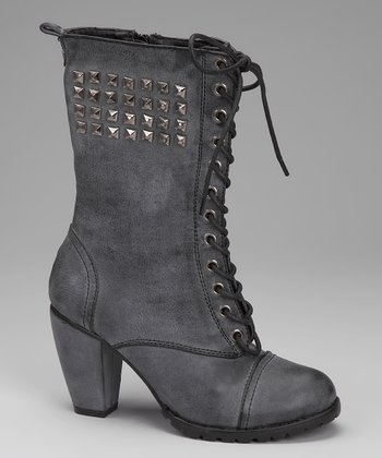 Black Studded Lace-Up Boot