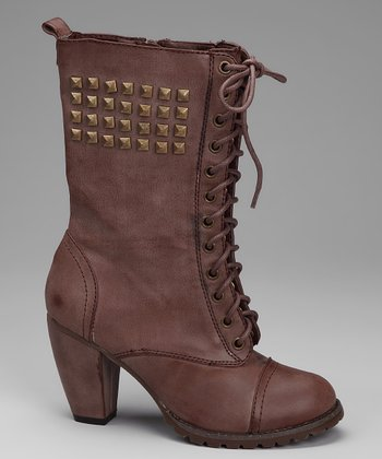 Brown Studded Lace-Up Boot