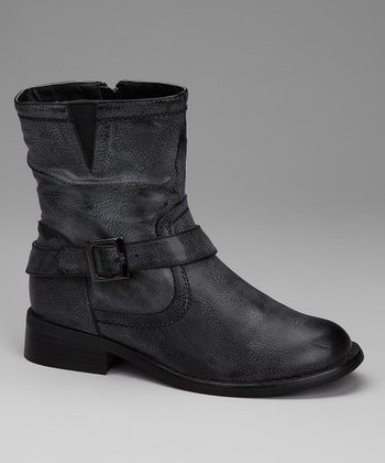 Gray Side-Zip Buckle Boot