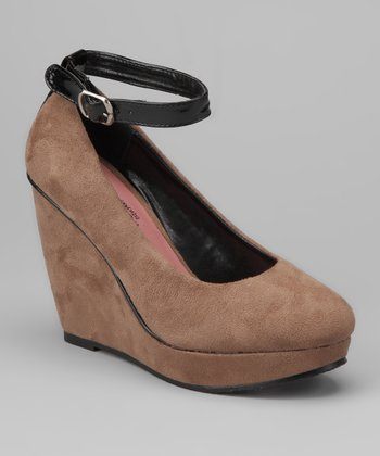 Taupe Jenna Wedge