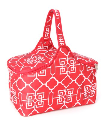 Red Lattice Picnic Cooler