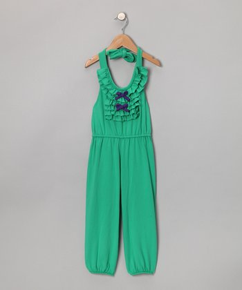 Green Ruffle Jumpsuit - Toddler & Girls