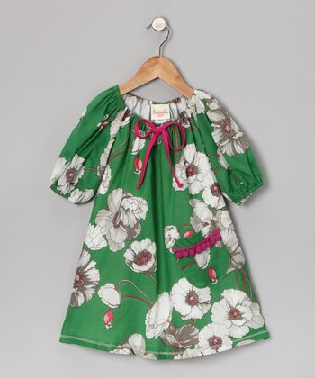 Green Floral Pom-Pom Dress - Toddler