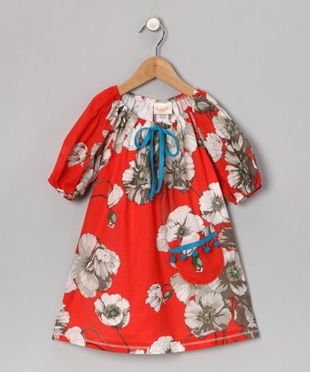 Red Floral Pom-Pom Dress - Toddler