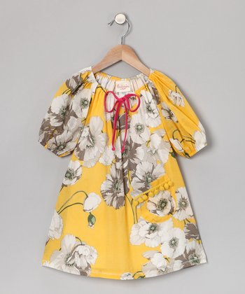 Yellow Floral Pom-Pom Dress - Toddler