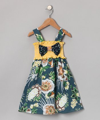 Teal & Yellow Bow Dress - Toddler